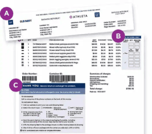 old navy return mailing label and invoice