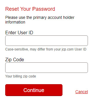 JCPenney Reset password