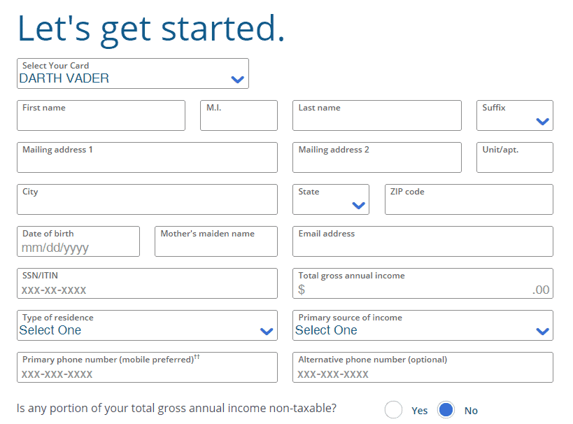 Disney Credit Card Sign-Up Page