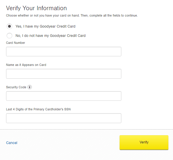Goodyear Consumer Credit Card Login Retrieve User ID