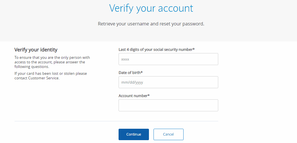 password and username