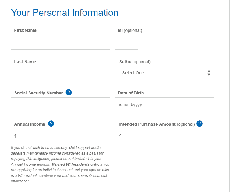 Application-Fill in Personal Information