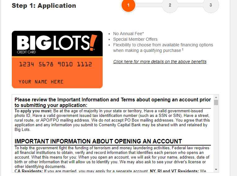 Apply for Big Lots Credit Card